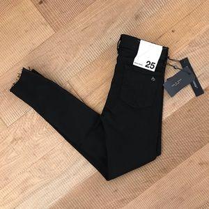 Rag & Bone Raw Hem Ankle Skinny Jeans Black NWT